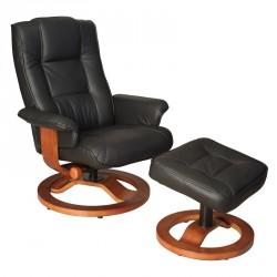 Fauteuil de relaxation cuir noir - RELAXO