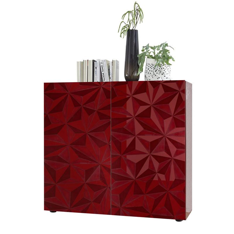 Buffet haut 2 portes Laqué Rouge brillant - KIOO