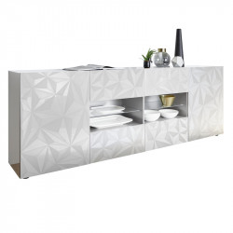 Buffet 2 portes 4 tiroirs Laqué Blanc brillant - KIOO