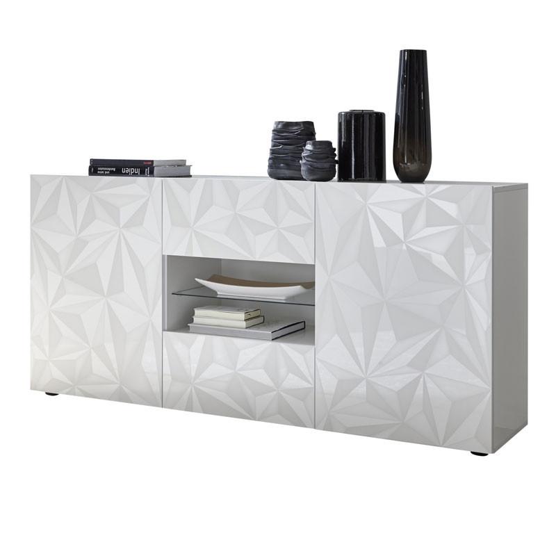 Buffet 2 portes 2 tiroirs Laqué Blanc brillant - KIOO