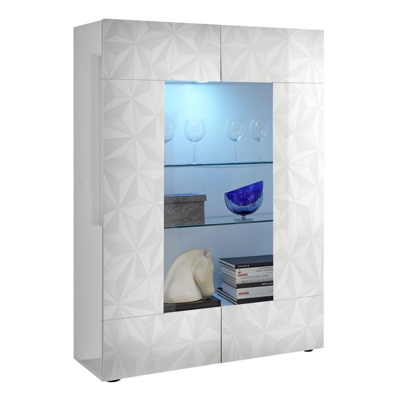 Vitrine 2 portes Laqué Blanc brillant à LEDs - KIOO