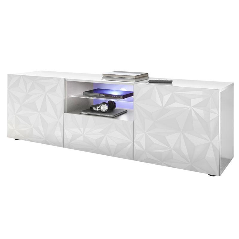 Meuble TV 2 portes 1 tiroir Laqué Blanc brillant à LEDs- KIOO