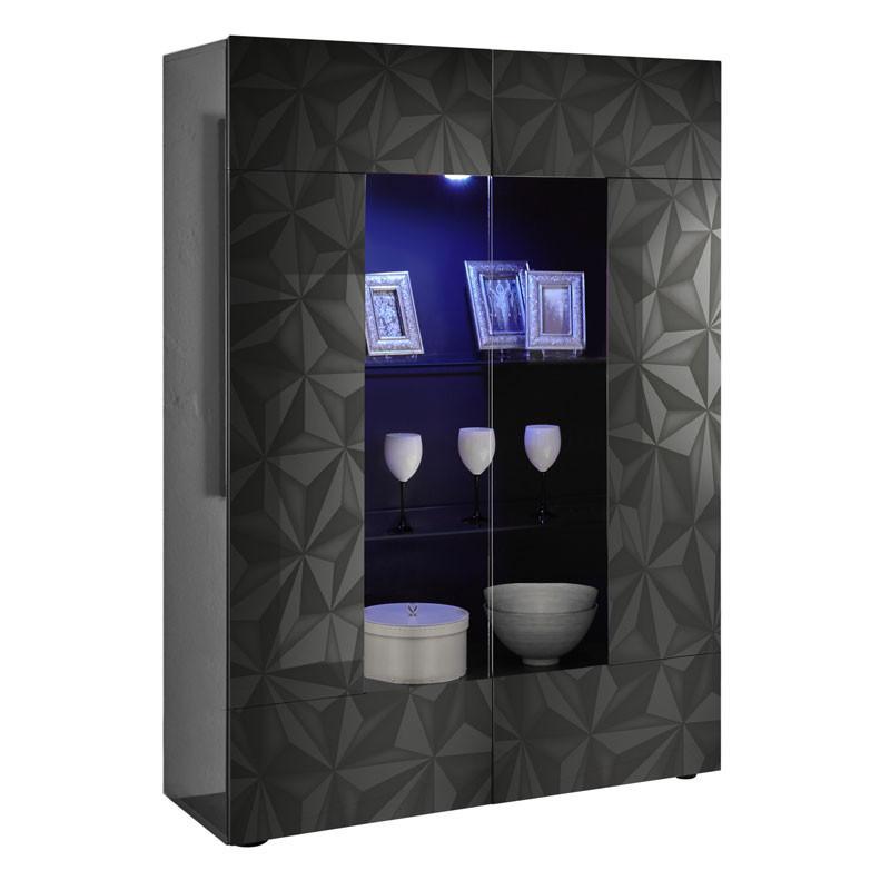 Vitrine 2 portes Laqué Gris brillant à LEDs - KIOO