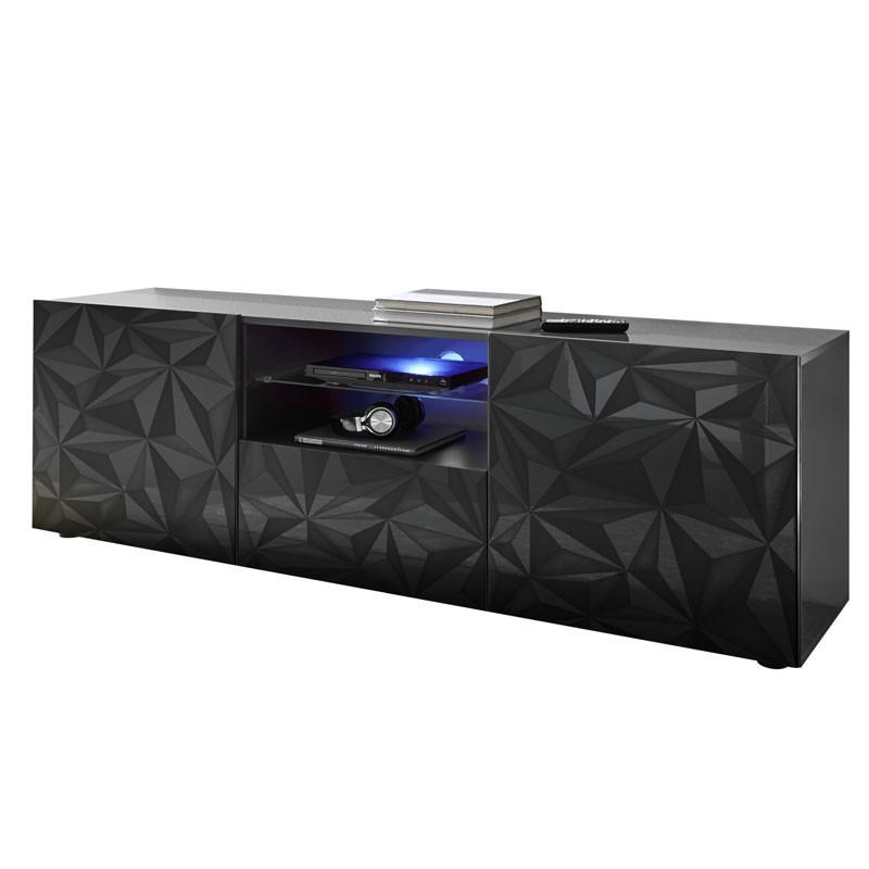 Meuble TV 2 portes 1 tiroir Laqué Gris brillant à LEDs - KIOO
