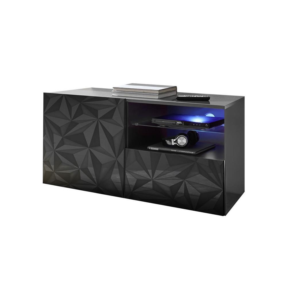 Meuble TV 1 porte1 1 tiroir Laqué Gris brillant à LEDs- KIOO