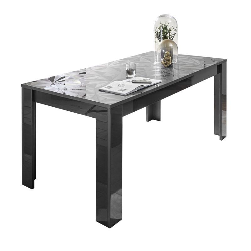 Table de repas rectangulaire Laquée Gris brillant - Kioo