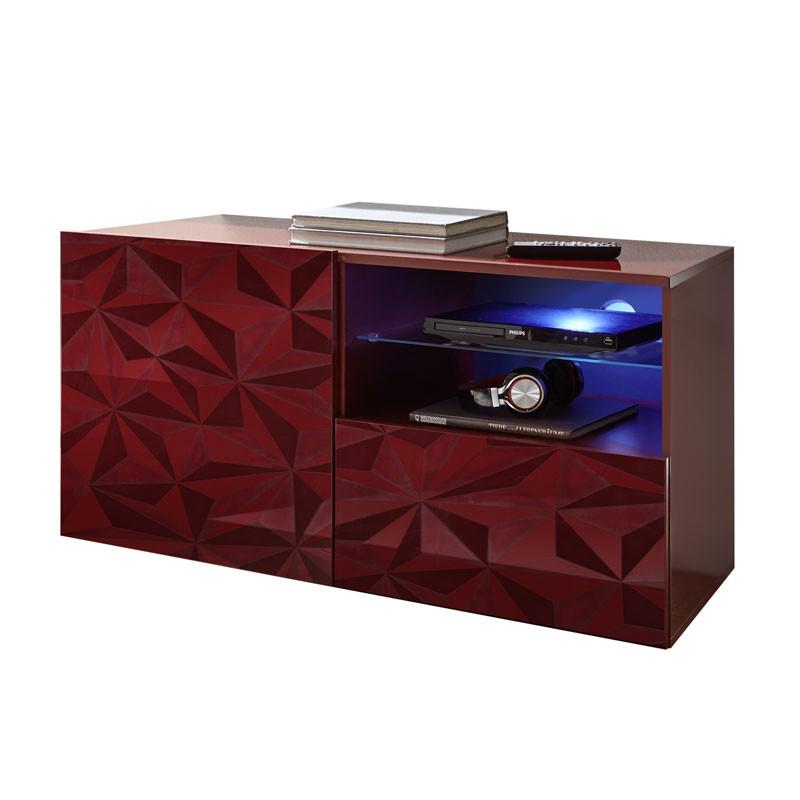 Meuble TV 1 porte 1 tiroir Laqué Rouge brillant à LEDs- KIOO