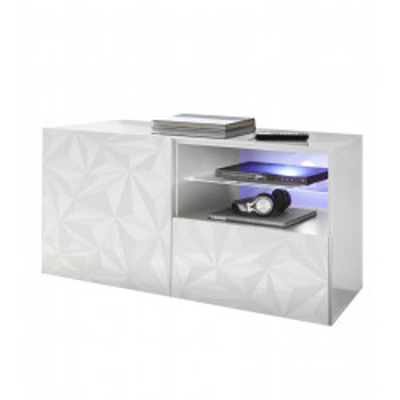 Meuble TV 1 porte 1 tiroir Laqué Blanc brillant à LEDs- KIOO