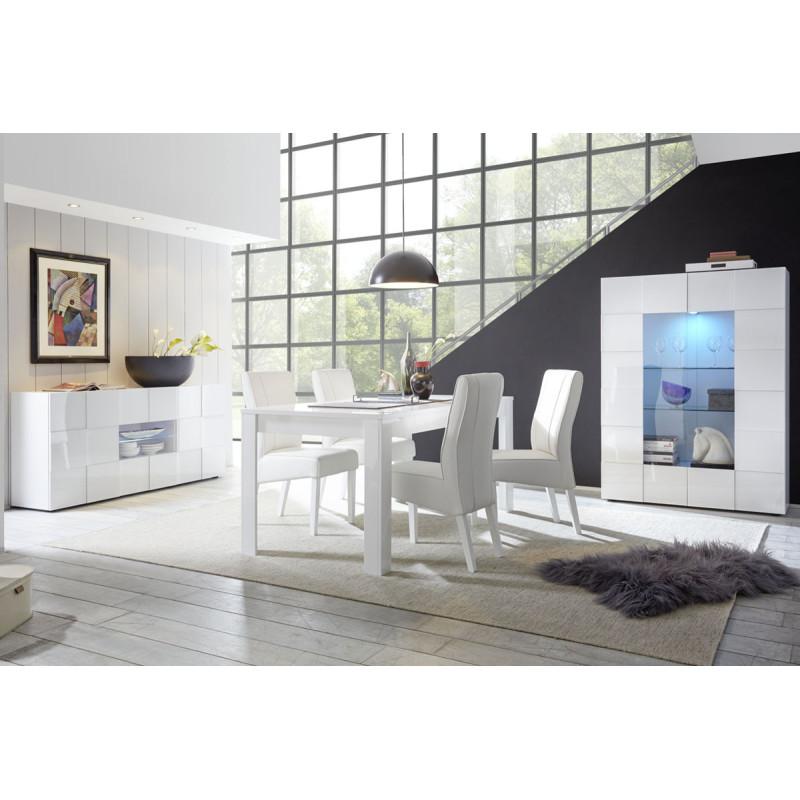 Salle à Manger Complète Laqué Blanc brillant - TICATO