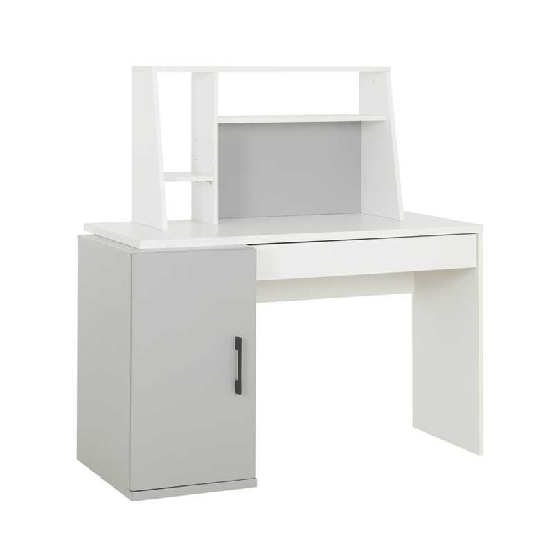 Bureau secrétaire 1 porte 1 tiroir Blanc/Gris - MOONLA