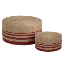 Duo de Poufs Rotin Naturel/Rouge - ANVERS