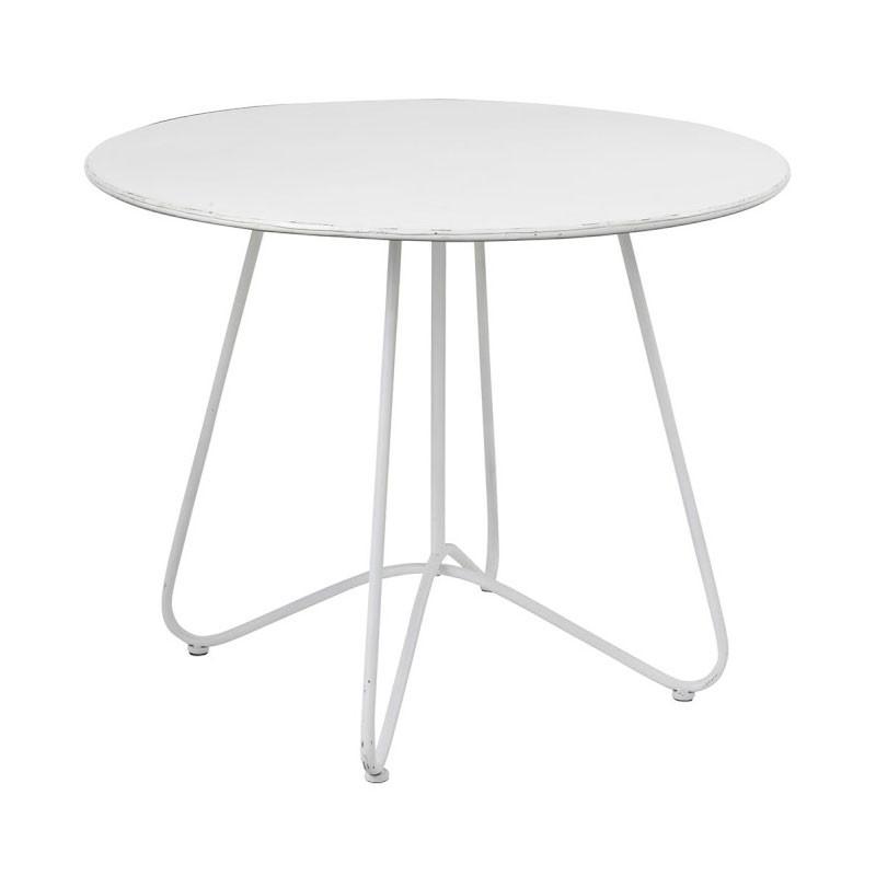 Table de repas ronde Métal blanc - EKLO