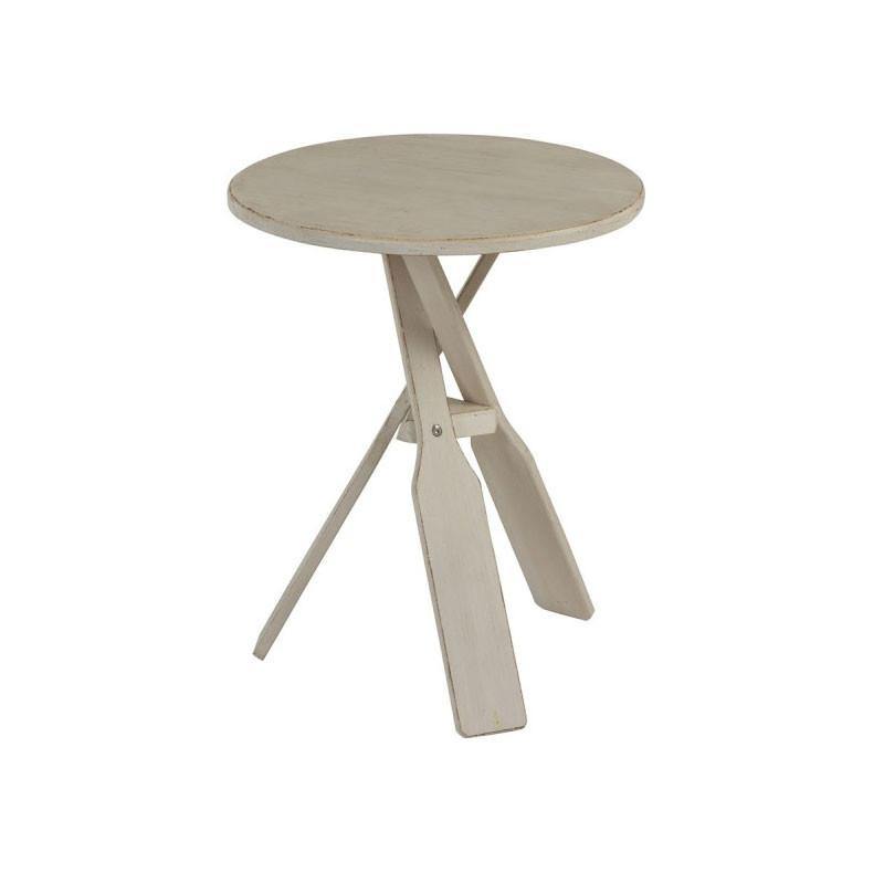 Table d'appoint pieds en forme de rames Beige - HANNUT