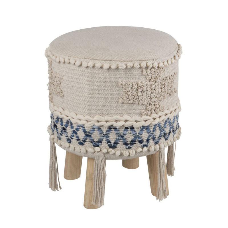 Tabouret Ethnique Coton bleu/blanc - NAKIPA