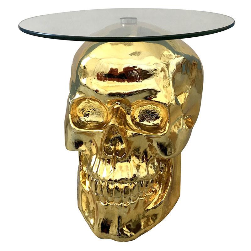 Table d'appoint Tête de mort Or/Verre - HERSTAL