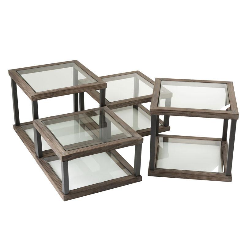 Set de 4 Tables basses carrées Bois/Verre - LOKEREN