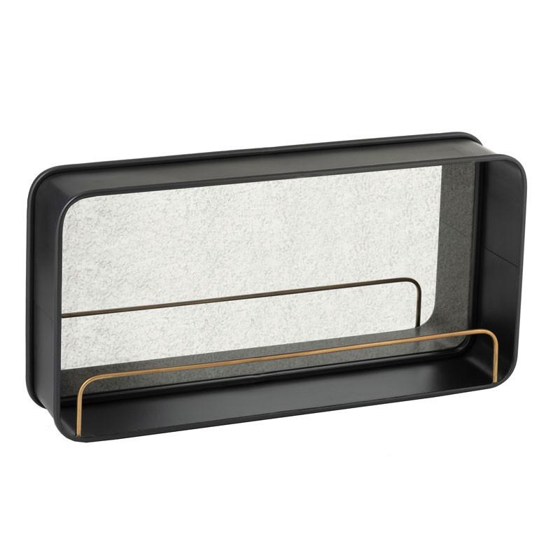Miroir avec étagère Métal noir - NINOVE