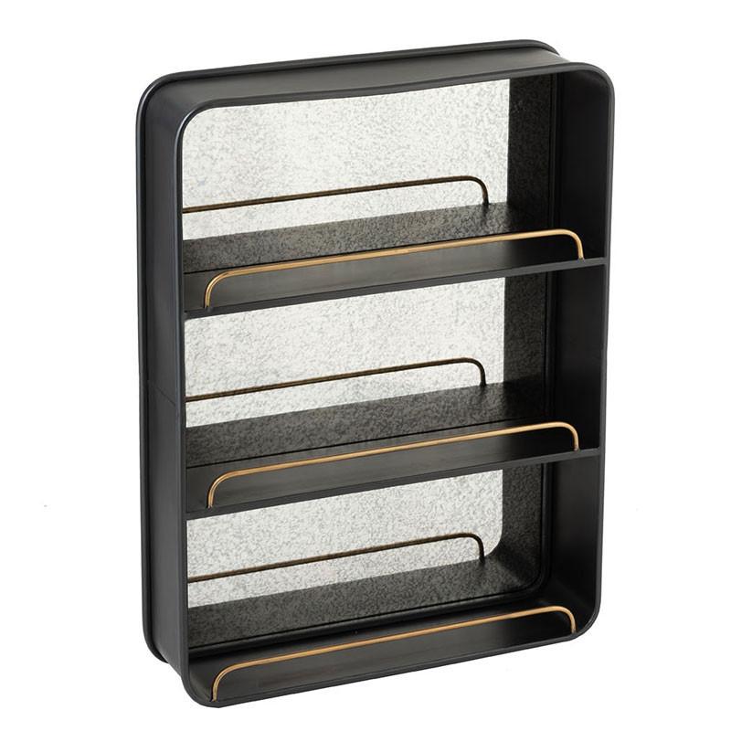 Miroir avec 3 étagères Métal noir - NINOVE