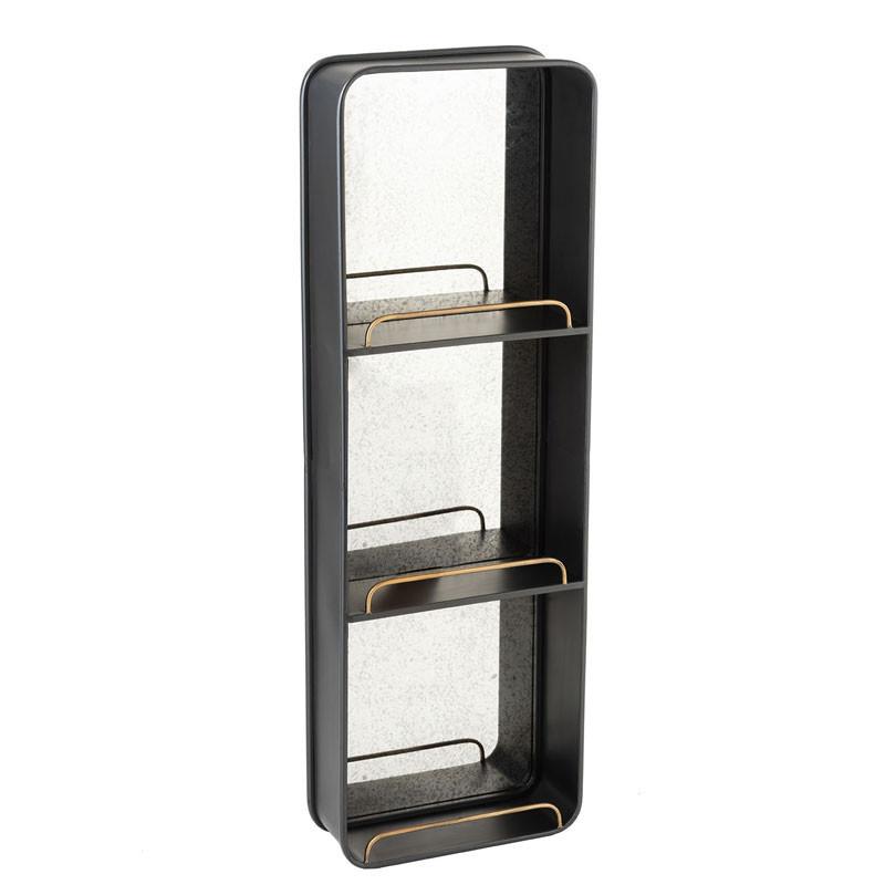 Miroir avec 3 étagères Métal noir - NINOVE n°2