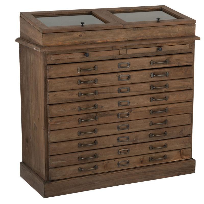 Commode 9 tiroirs Bois marron/Verre - NIVELLE