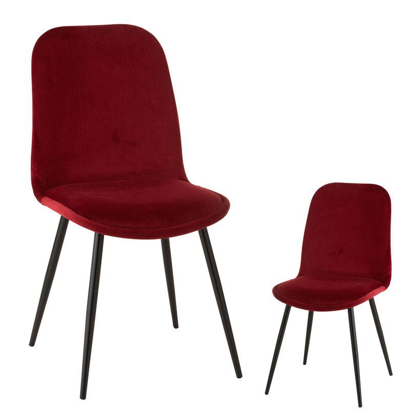 Duo de Chaises Velours rouge/Métal - TYCHY