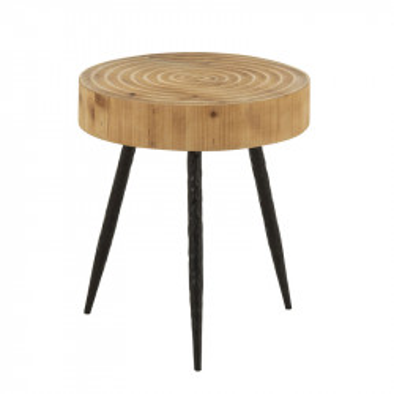 Table d'appoint ronde Bois naturel/Métal noir - DRESDE