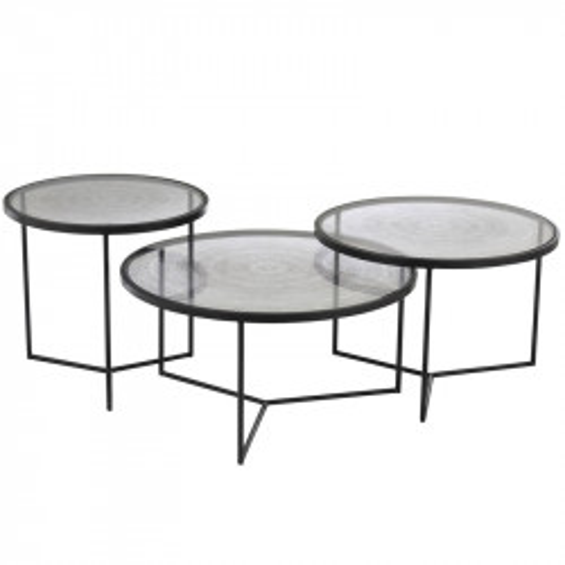 Tables gigognes rondes Verre/Métal noir - HANOVRE