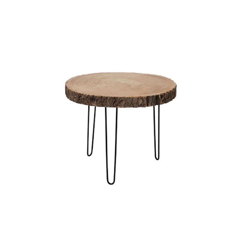 Table d'appoint ronde Métal/Rondin de bois - LUBECK n°1