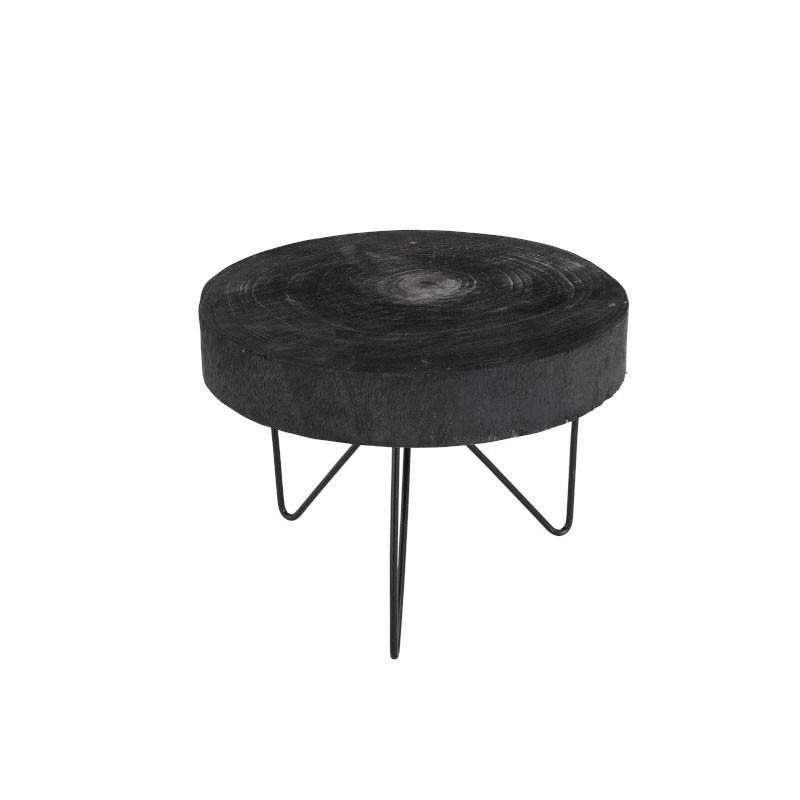 Table d'appoint ronde Bois/Métal noir taille S - KIEL