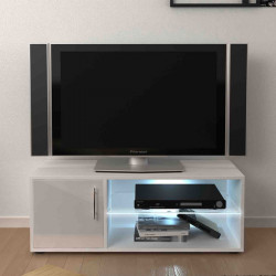 Meuble TV 1 porte 2 niches Blanc brillant à LEDs - LUNIA