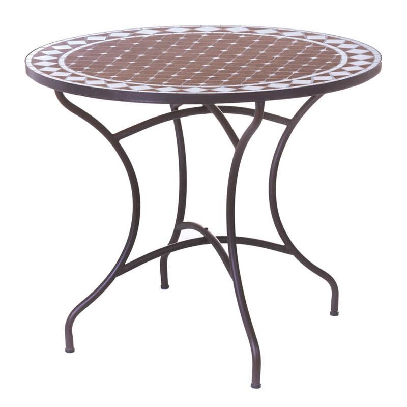 Table de repas ronde Fer/Céramique taupe et blanc - MIRIHI
