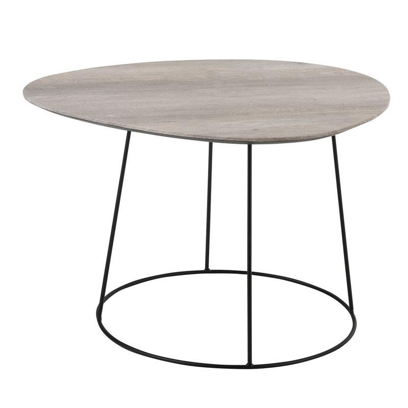 Table basse ovale Bois naturel/Métal noir - ARICA n°1