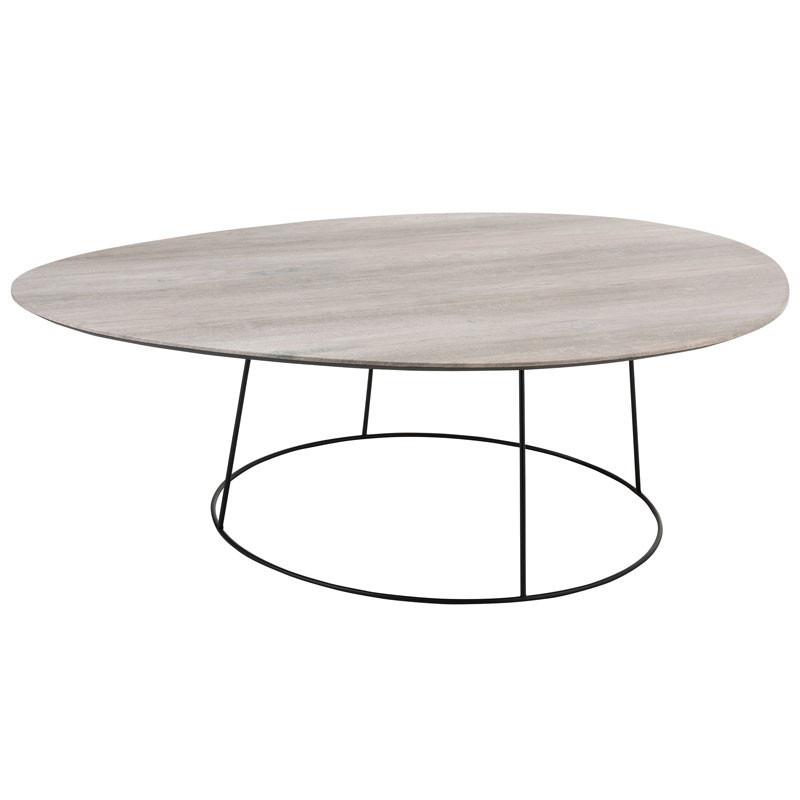 Table basse ovale Bois naturel/Métal noir - ARICA n°2