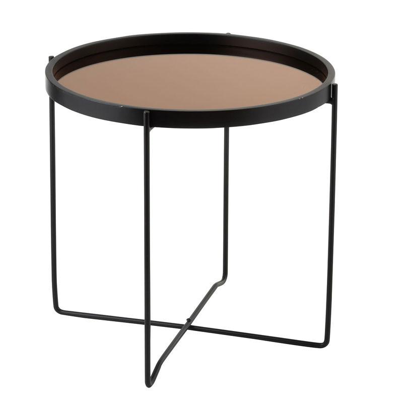 Guéridon Métal Miroir noir/cuivre - CALAMA