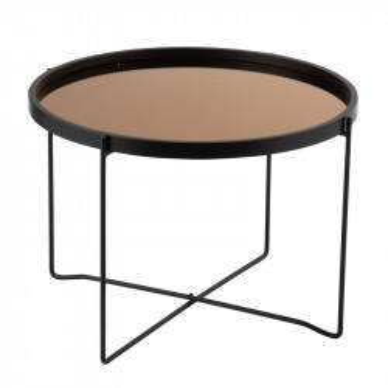 Table basse ronde Métal Miroir noir/cuivre - CALAMA n°1