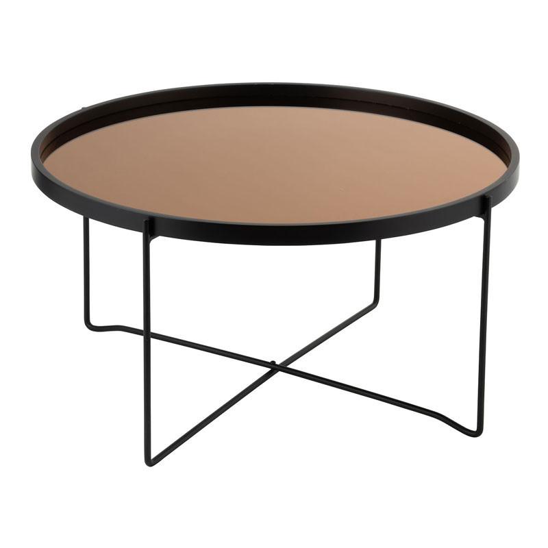 Table basse ronde Métal Miroir noir/cuivre - CALAMA n°2