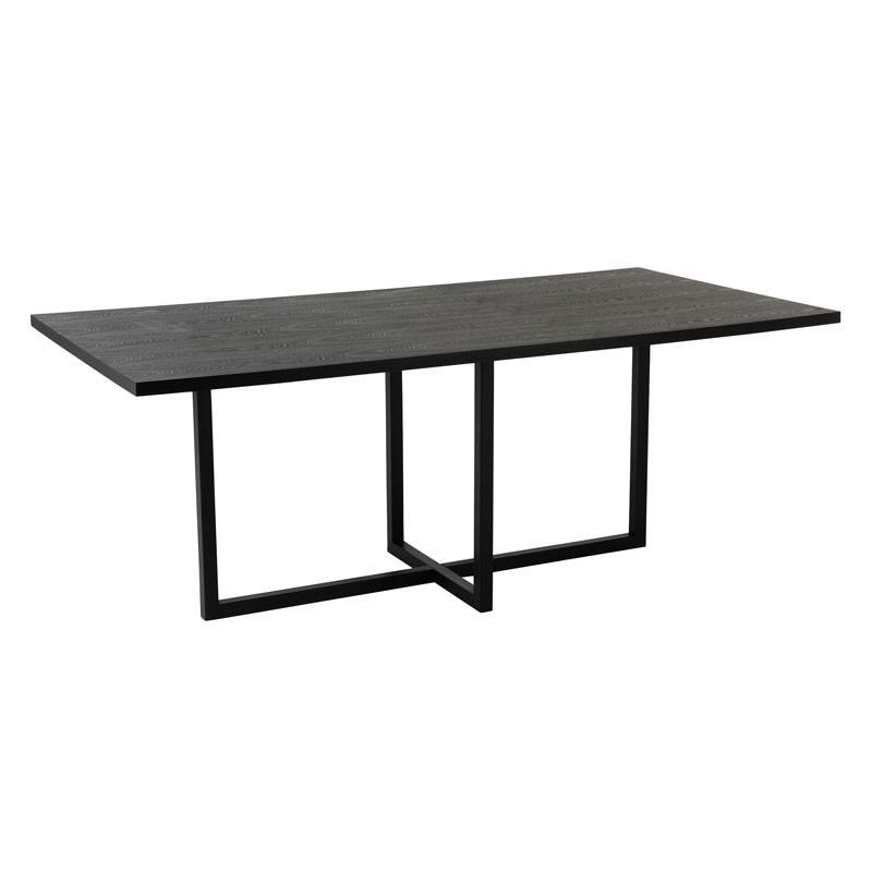 Table de repas rectangulaire Bois/Métal noir - VALDIVIA