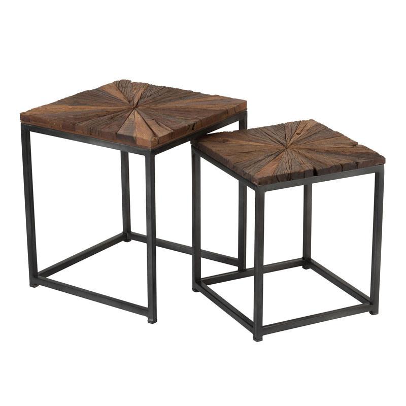 Tables gigognes carrées Bois/Métal - ROTTERDAM