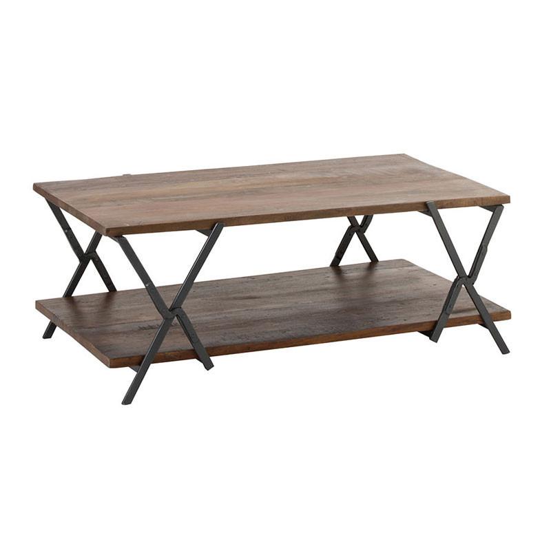 Table basse rectangulaire pieds en X Bois/Métal - AMSTERDAM