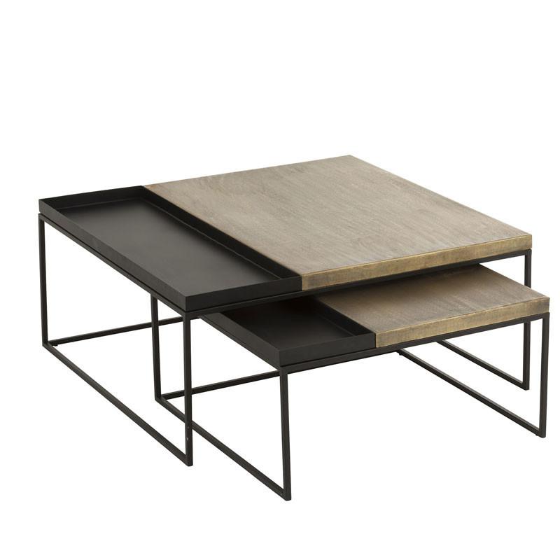Tables gigognes carrées Métal noir/or - NIMEGUE