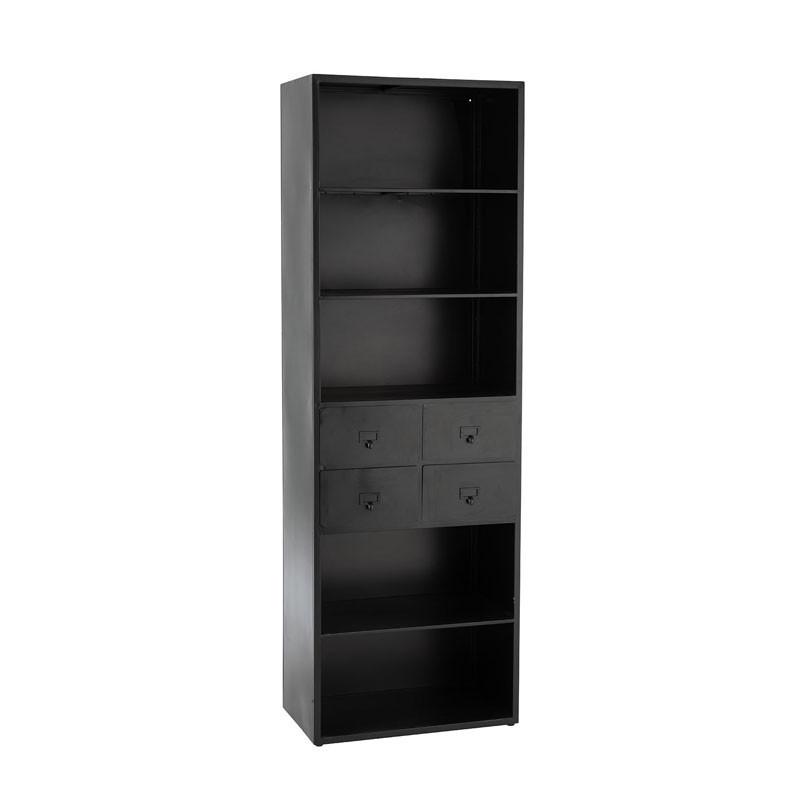 Bibliothèque 4 tiroirs 5 niches Métal noir - ZADAR