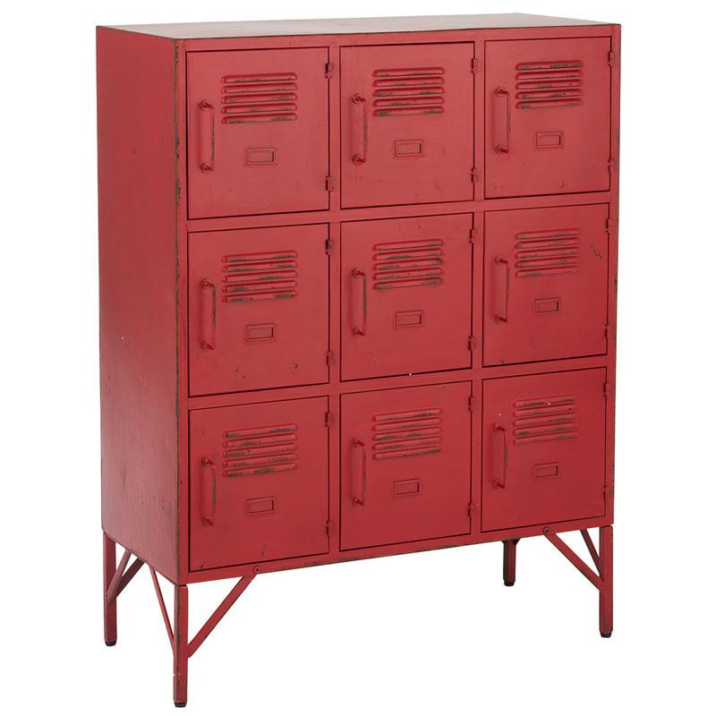 Meuble d'entrée 9 casiers Métal rouge - SPLIT