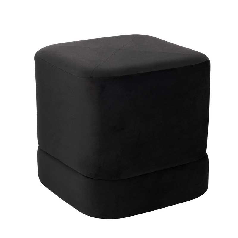 Pouf carré Velours noir - KAVALA