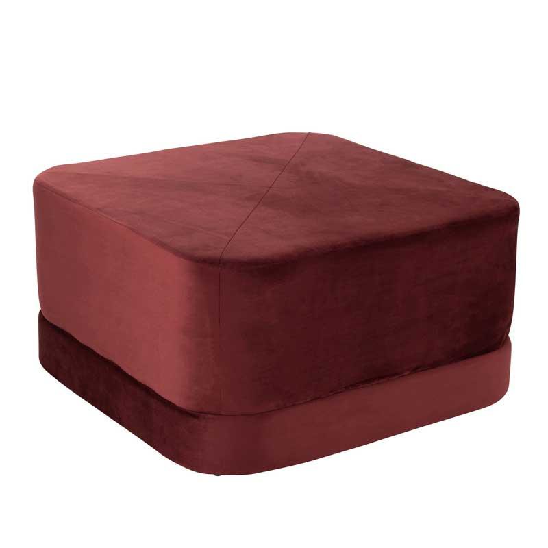 Pouf bas Velours rouge bordeaux - KAVALA