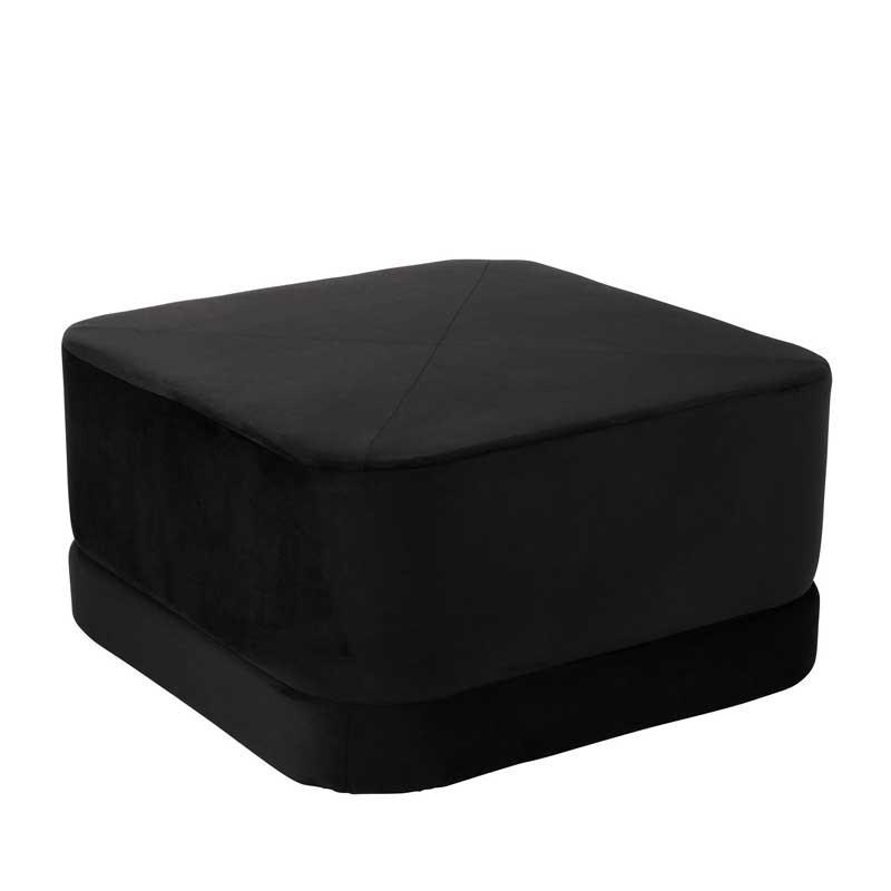 Pouf bas Velours noir - KAVALA
