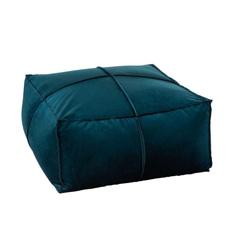 Pouf carré Velours bleu - SPARTE