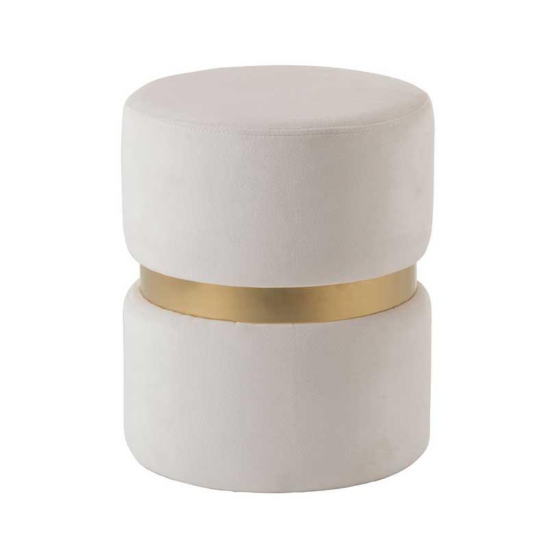 Pouf Velours blanc et Métal or - SPARTE
