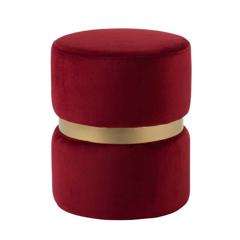 Pouf Velours rouge et Métal or - SPARTE