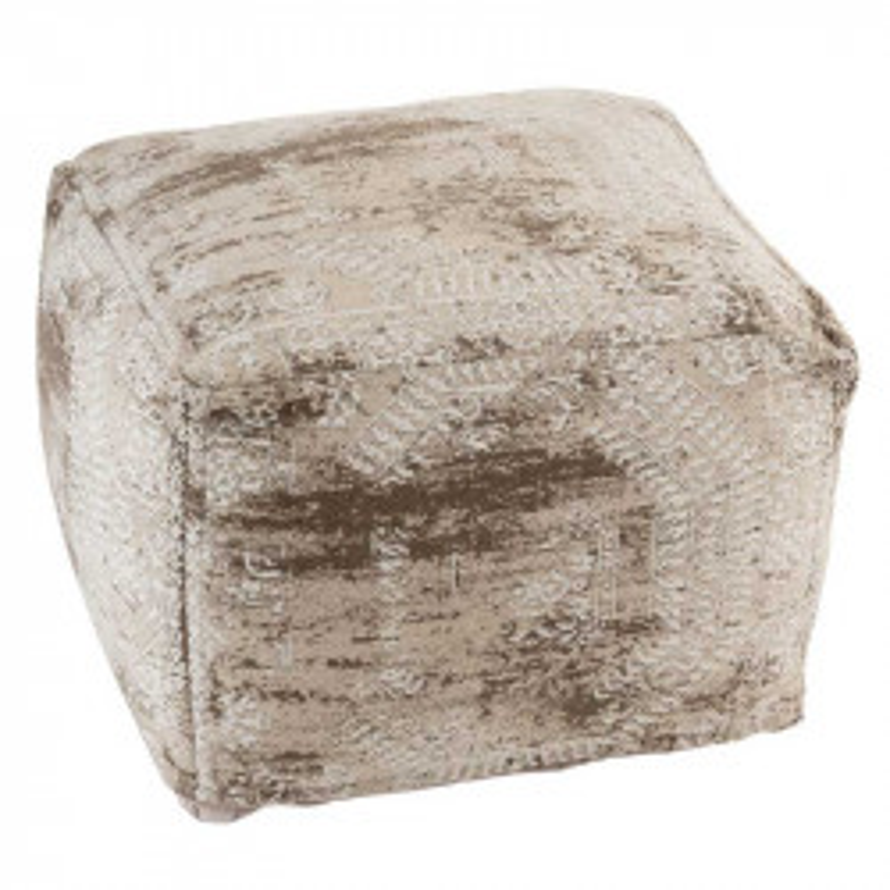 Pouf à motifs Tissu beige/blanc - CORFOU