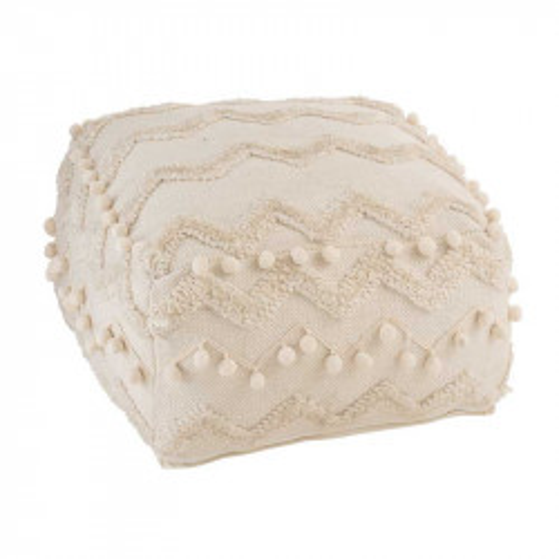 Pouf à motifs ethnique Tissu crème - TWIGO